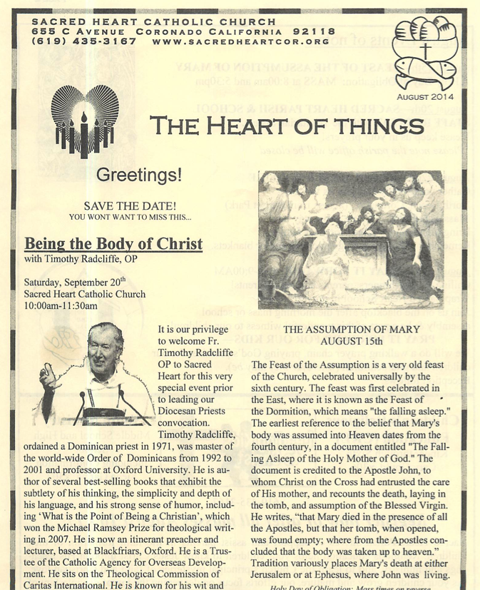Sacred Heart parish bulletin insert