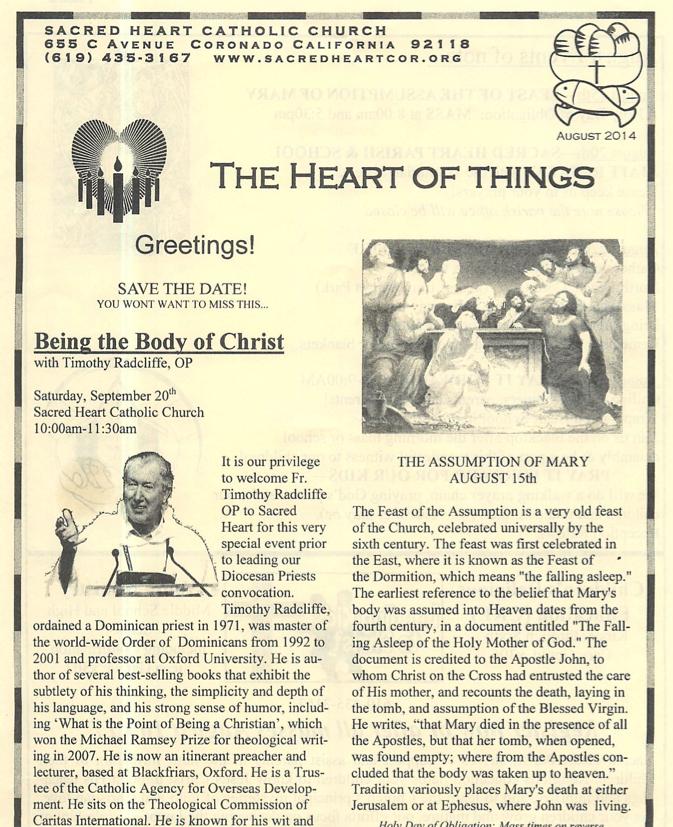 Sacred Heart parish bulletin insert