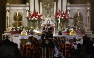 "A photo from the Pontifical Mass celebrated by His Grace, The Most Reverend Salvatore Cordileone, Archbishop of San Francisco, on the Solemnity of the Exaltation of the Holy Cross and 7th Anniversary of the implementation of Pope Benedict XVI's Motu Proprio ""Summorum Pontificum"" at Star of the Sea"