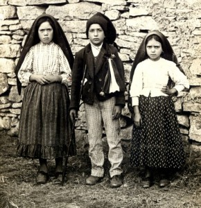 The three children who witnessed the apparitions at Fatima: Lucy dos Santos, Francisco Marto, and Jacinto Marto.