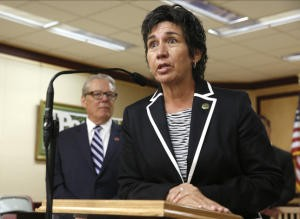 Assemblywoman Susan Talamantes Eggman, D-Stockton answers questions concerning the reintroduction of right to die legislation, at a news conference on August 18 in Sacramento. The measure, by Eggman, and Sens. Bill Monning, D-Carmel, left, Lois Wolk, D-Davis, and other lawmakers, would allow terminally ill patients to take life ending drugs. A nearly identical bill failed to get out of a legislative committee earlier this year. (from August 18 Mercury News article/AP Photo/Rich Pedroncelli)