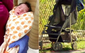 Investigators are unsure how long the baby had been left in the push chair. Photo: KTLA.com