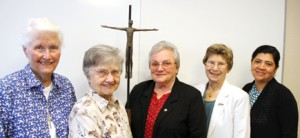Leaders of the Northern California Catholic Sisters Against Human Trafficking, from left, are Sister Frances Tobin, RSCJ; Sister Marie Jeanne Gaillac, CSJ of Orange; Sister Rosina Conrotto, PBVM; Sister Dianne Nixon, SNJM; and Carolina Parrales, far right.