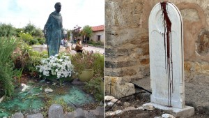 "Vandals splashed paint on statues at Carmel Mission and scrawled ""Saint of Genocide"" on a headstone. The incident is being investigated as a hate crime, authorities say. (Jay Dunn / The Californian)"