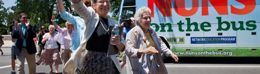 Sister Simone Campbell with her Nuns on the Bus (photo by J. Scott Applewhite)