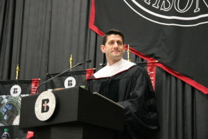 Paul Ryan giving the commencement speech at Benedictine College (from October  21 Catholic Vote article)