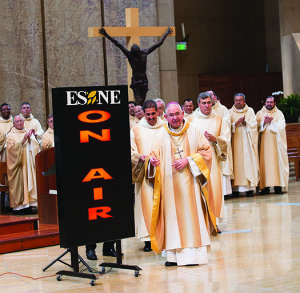 On Oct. 1, Archbishop José H. Gomez flipped the switch to launch El Sembrador (ESNE) Radio in Los Angeles at the Cathedral of Our Lady of the Angels. (Photo: Victor Alemán)