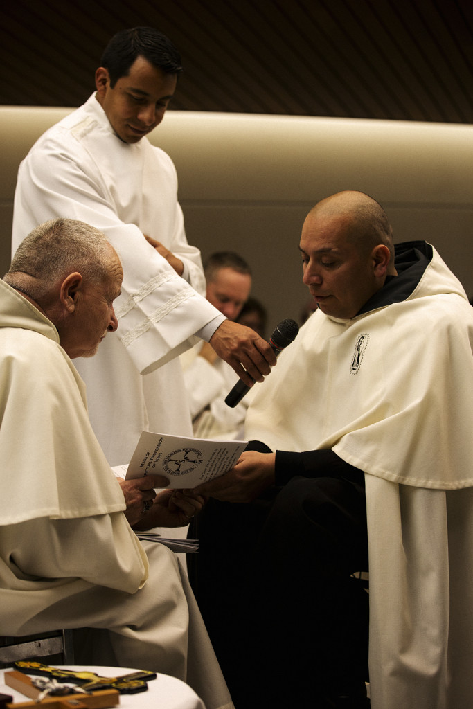 Former gang member Brother Cesar John Paul Galan, FSP, made his perpetual profession of vows at St. Francis Medical Center in Lynwood on Dec. 11. He is studying to become a priest at St. John's Seminary. (photo/Paul Duda/The Tidings)