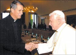 Father Joseph Fessio with his former teacher, Pope Benedict XVI [Cardinal Ratzinger at the time].