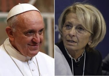 Pope Francis (left) has compared former Italian Foreign Minister Emma Bonino (right), who is an abortion rights activist, to great historical figures such as Konrad Adenauer and Robert Schuman. (photo from Christian Today article/Reuters/Wikipedia)