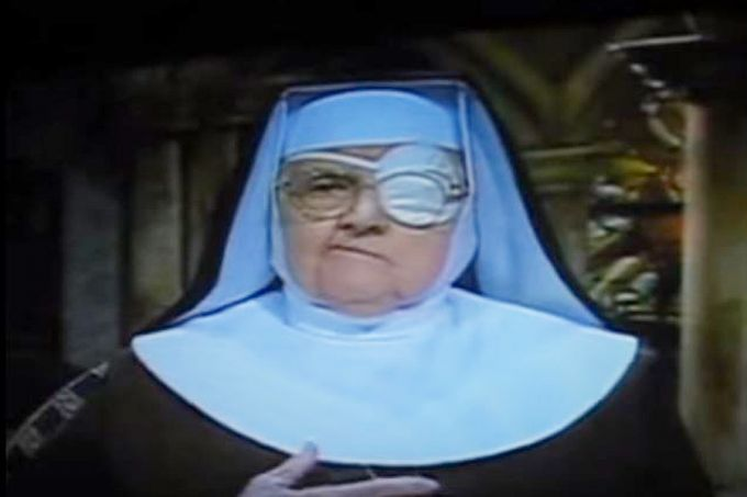 Mother Angelica with eye patch via YouTube screenshot. (CNA)