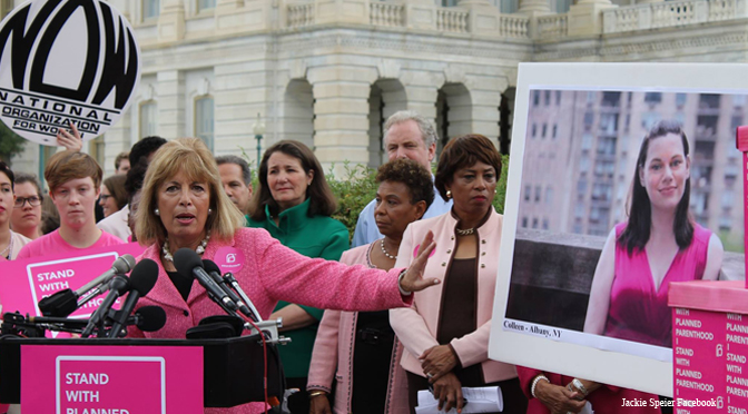 Jackie Speier at a Planned Parenthood Rally (photo from LiveActionNews.com)