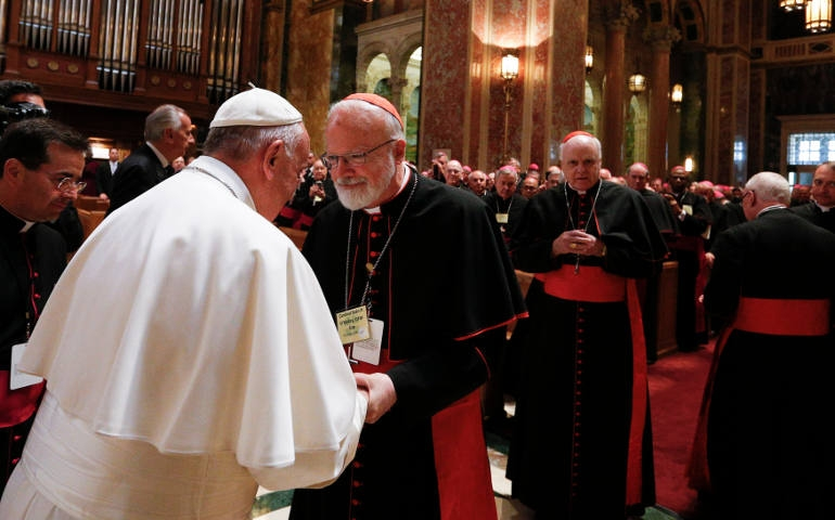 Cardinal Sean P. O'Malley of Boston meets with Pope Francis during a meeting with U.S. bishops at the Cathedral of St. Matthew the Apostle in Washington Sept. 23, 2015. O'Malley, the American prelate who's closest to Francis, was one of the signers of the Catholic Climate Petition last year, an effort endorsed by Francis that seeks world leaders to take steps to address climate change. (CNS photo/Paul Haring)