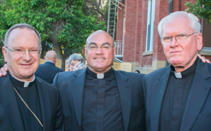 From left: Bishop Barber of Oakland, Fathers Tom Martin and Stephen Howell (photo from Catholic Voice)