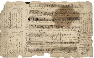 Early music manuscript from the Calif. missions