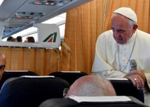 Te Pope on his return flight from Armenia
