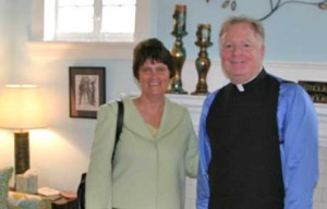 Anne Holton, wife of Tim Kaine, with Father Jim Arsenault. (image from stelizcc.org)