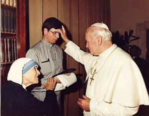 Mother Teresa and John Paul II and Father Brian as young priest