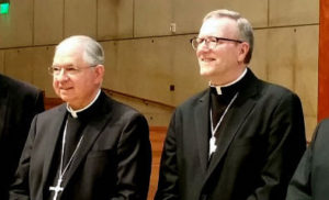 Archbishop Gomez and Bishop-elect Barron after announcement Rome had named Barron to L.A.