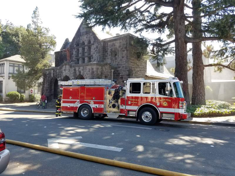 Arson at downtown santa rosa church firefighters respond to a small fire inside st rose church in santa rosa california malvernweather Choice Image