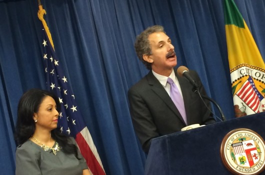 Los Angeles Councilwoman Nury Martinez and City Attorney Mike Feuer address enforcement of California's Crisis Pregnancy Center regulation. (Nicole Knight Shine / Rewire)
