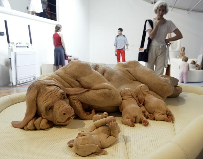 "Sculpture by artist Patricia Piccinini, from her 2003 exhibition ""We Are Family."" (image from The National Geographic)"
