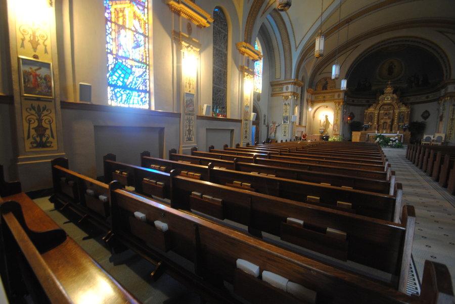 pews in Catholic church