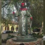 Junipero Serra statue vandalized in park across from Mission San Fernando